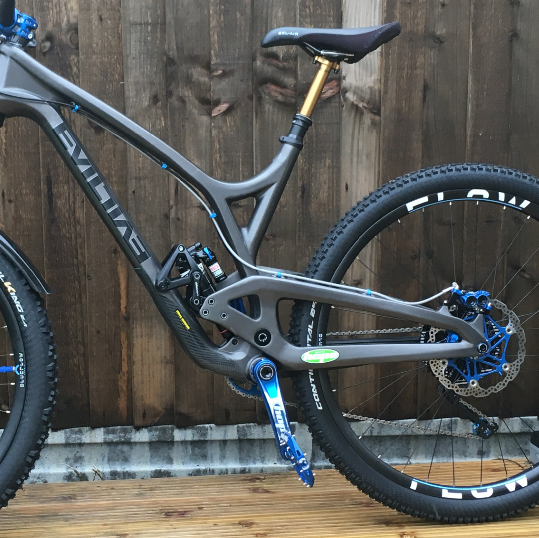 Evil Wreckoning with handbuilt carbon wheels from Nottingham, Blue Flow Wheels, MTB, Wheelsets, Mountain Bike Wheels, Custom built, Free UK Delivery