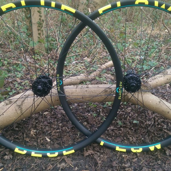 Blue Flow Wheels - Carbon Mountain Bike Wheels - Yellow Blue Graphics