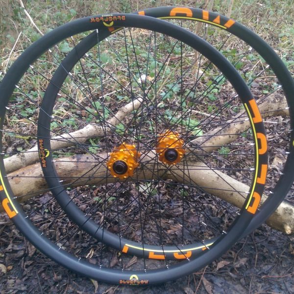 Blue Flow Wheels - Carbon Mountain Bike Wheels - Orange Decals