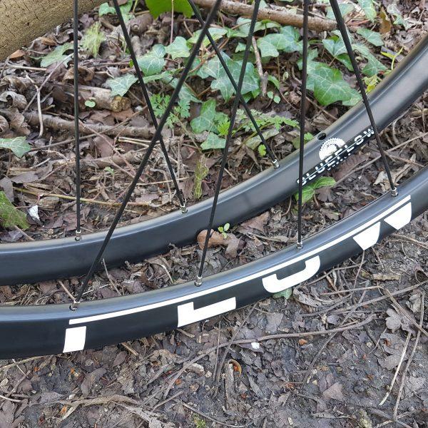 Blue Flow Wheels - Carbon Mountain Bike Wheels - Decal Close Up